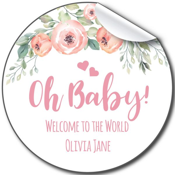 personalised-baby-shower-stickers-oh-baby-florals and hearts