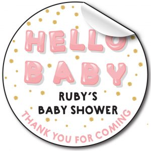 BABY SHOWER PERSONALISED STICKERS,BALLOON WRITING