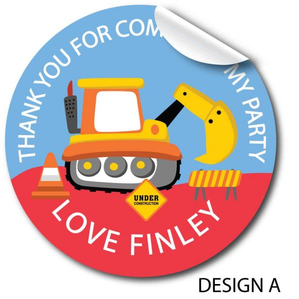Children's Birthday Personalised Stickers, Diggers