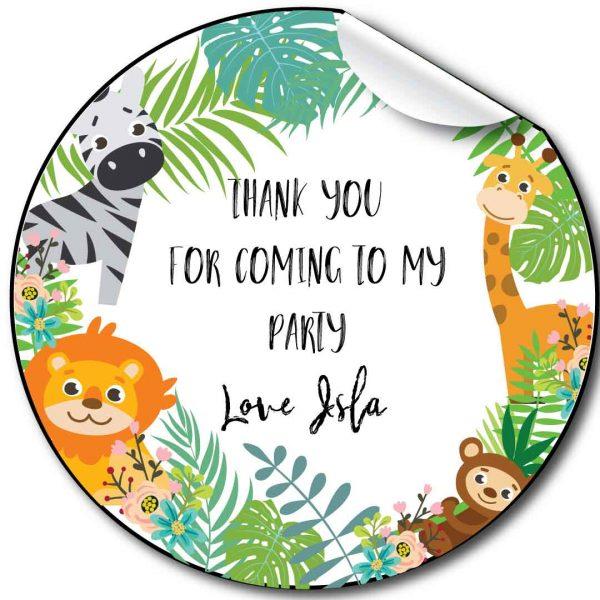 Zoo Jungle Children's Birthday Party Stickers,