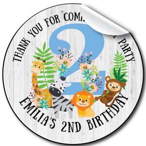 Zoo Florals Children's Birthday Party Stickers