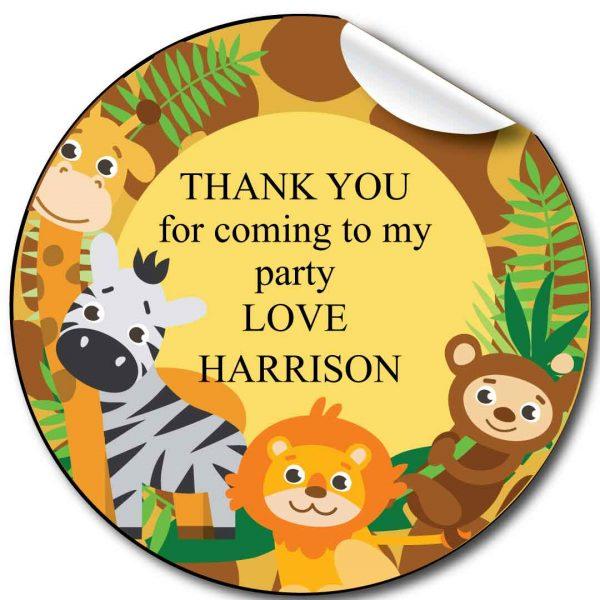Animals Zoo Children's Birthday Party Stickers