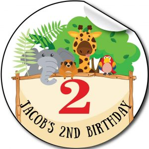 Zoo animals, Children's Birthday Party Stickers,