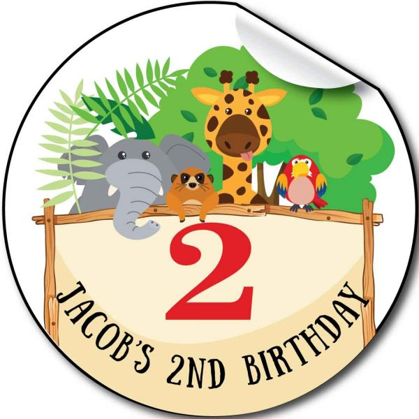 Zoo animals, Children's Birthday Party Stickers,