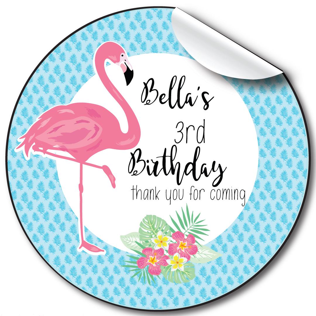 Flamingo Children's Birthday Personalised Stickers