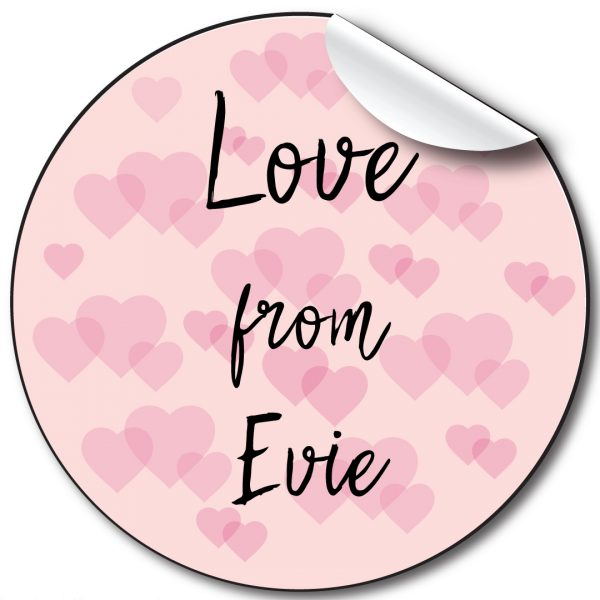 Pink Hearts Children's Birthday Personalised Stickers
