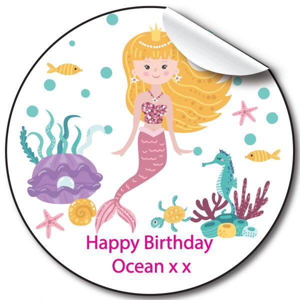 Mermaid Children's Birthday Personalised Stickers
