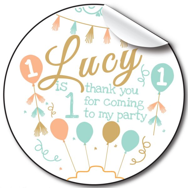 Balloons and bunting Children's Personalised Stickers