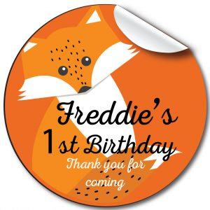 Fox Children's Birthday Personalised Stickers,