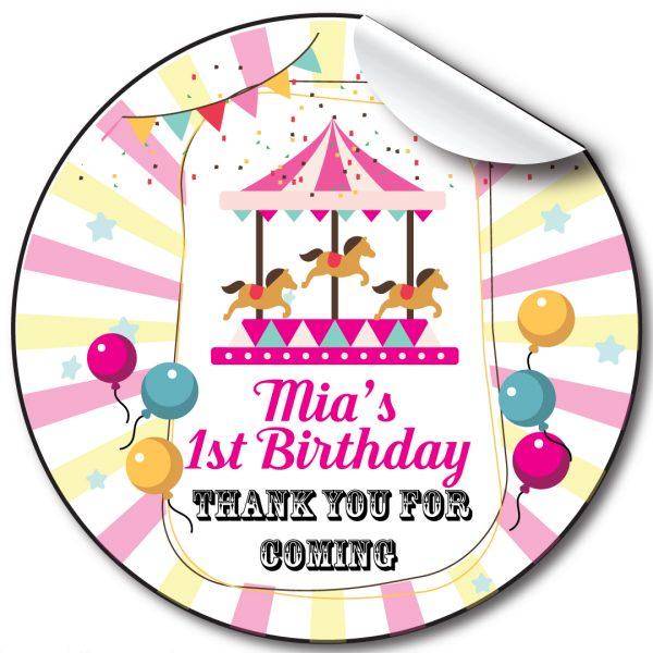 Fairground Children's Birthday Personalised Stickers