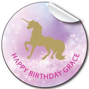 Unicorn Children's Birthday Personalised Stickers