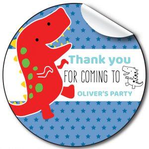 Dino Children's Birthday Personalised Stickers