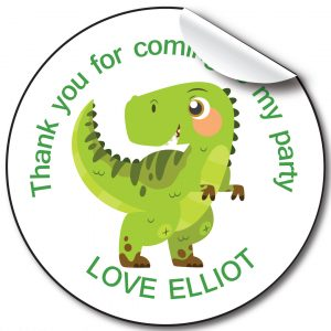 Dinosaur Children's Birthday Party Stickers Personalised