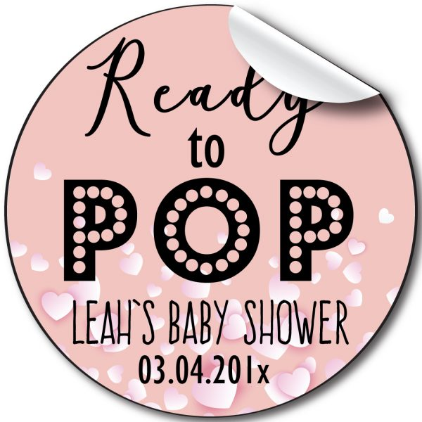 READY TO POP BABY SHOWER PARTY STICKERS, PERSONALISED