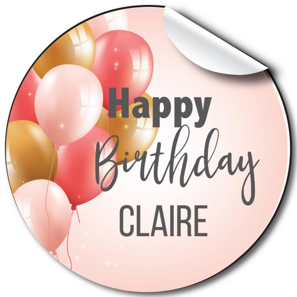 Pink Balloons Birthday Party Stickers,Personalised
