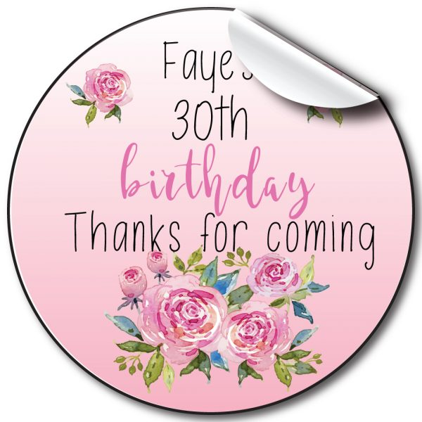 Pink Florals Birthday Party Stickers