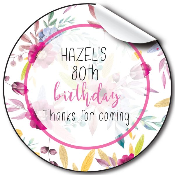 Floral Circle Birthday Party Stickers,personalised