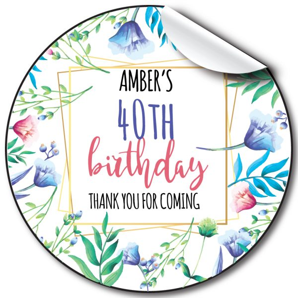 Floral frames Birthday Party Stickers, personalised