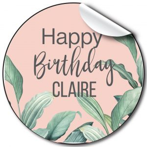 Green leaves birthday party stickers