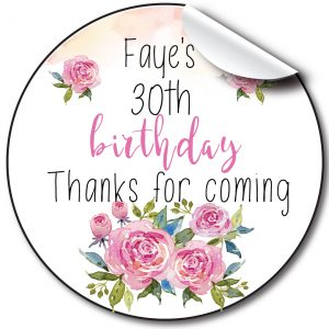 Floral Birthday Party Stickers,Personalised