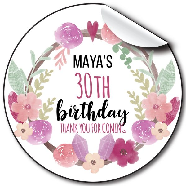 Floral wreath Birthday Party Stickers,personalised