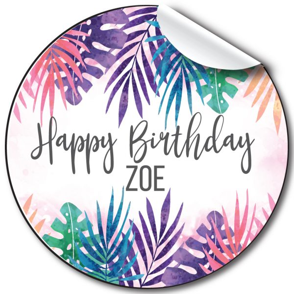 Tropical brights Birthday Party Stickers, personalised