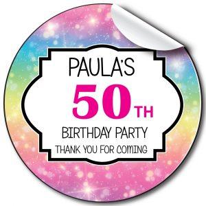 Rainbow sparkle Birthday Party Stickers