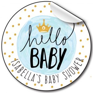 Baby Shower Personalised Stickers, Hello Baby Blue