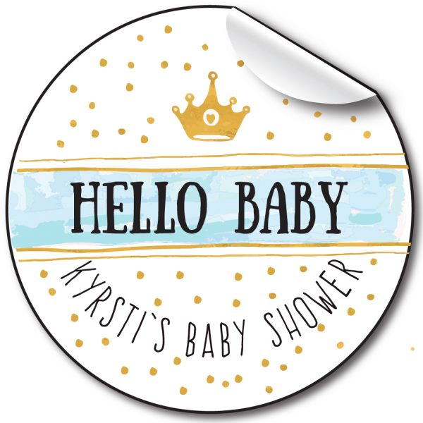 Baby Shower Personalised Stickers, Hello Baby