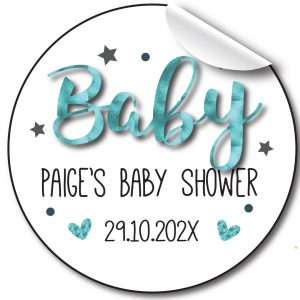 Personalised-baby-shower-stickerblue-foil-effect