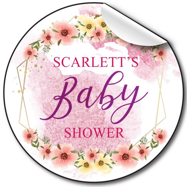 Personalised-baby-shower-stickers-with-floral-and-geometrics