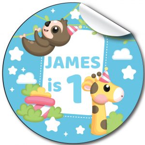 Cute animals Children's Birthday Party Stickers