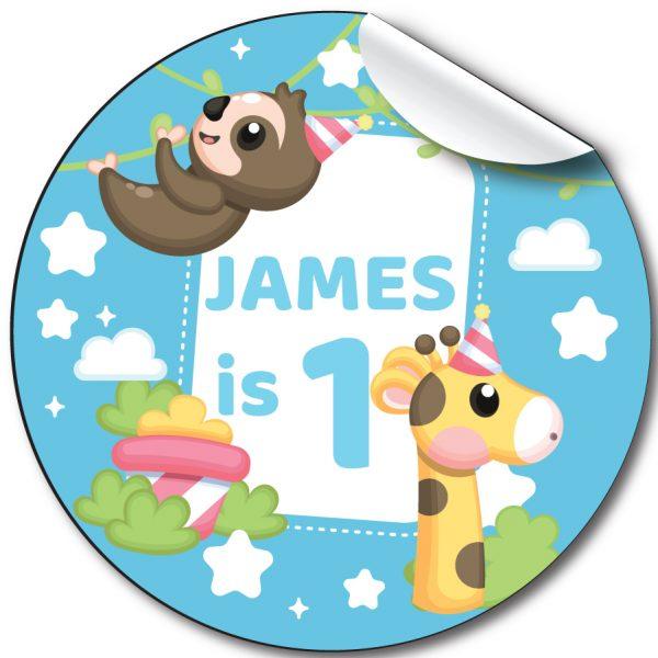 Cute animals Children's Birthday Party Stickers