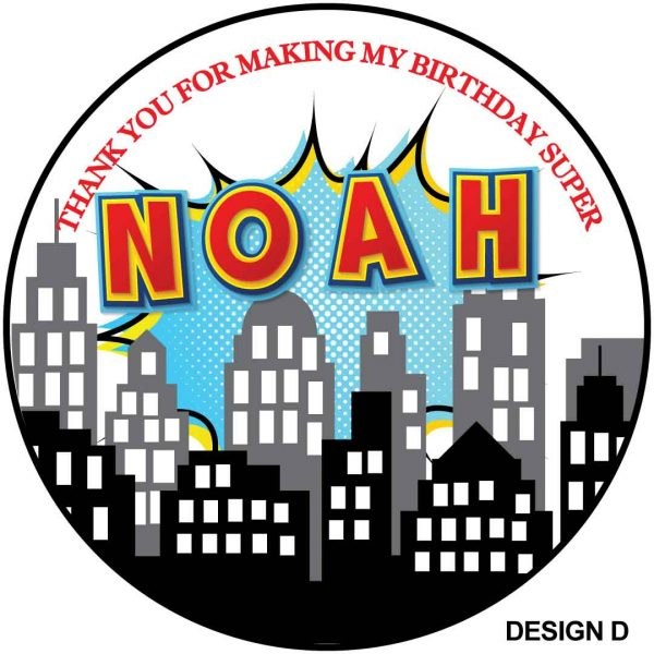 Super heroes skyline Children's Birthday Stickers
