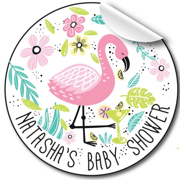 personalised-baby-shower-sticker-flamingo-and-florals