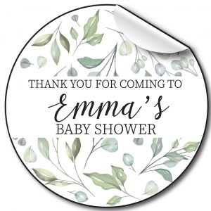 Baby Shower Personalised Stickers, Pale Foliage