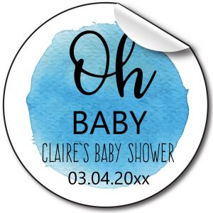BABY SHOWER PERSONALISED STICKERS, OH BABY