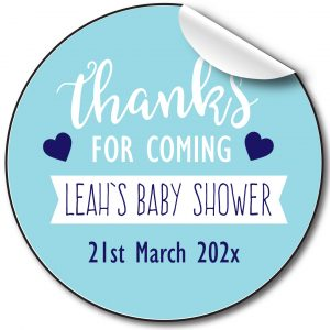 BABY SHOWER PERSONALISED STICKERS, THANKS FOR COMING