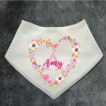 Baby Girl Bibs Personalised Floral Initial