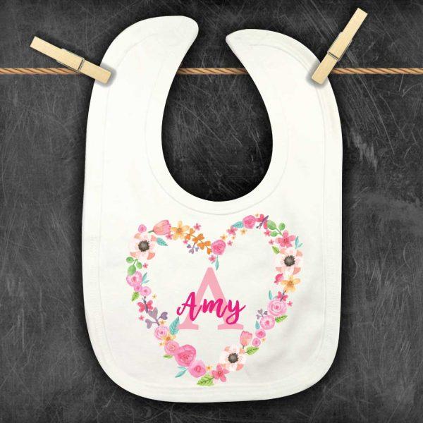 Baby-Bibs-Floral-Initial-personalised
