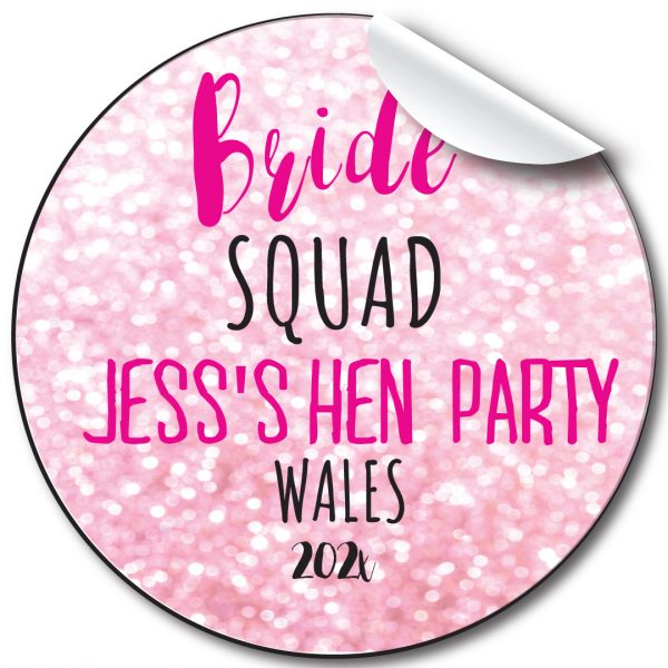 Hen Party Bride Squad personalised stickers
