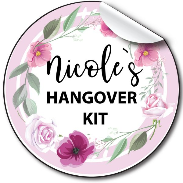 Hen Party Floral Circle personalised stickers