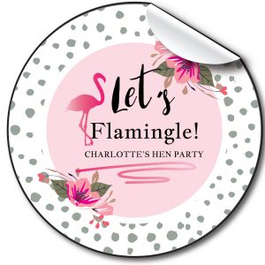 Let's Flamingle Hen Party personalised stickers