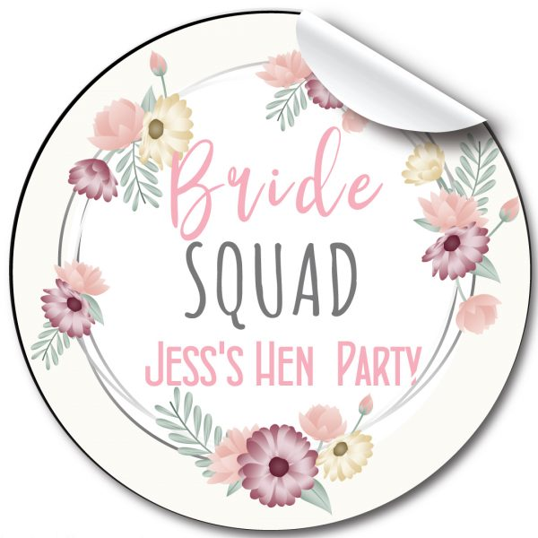Hen Party Personalised Stickers,Floral Frame