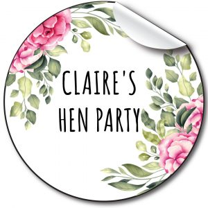 Hen Party Personalised Stickers,Pink Floral & foliage