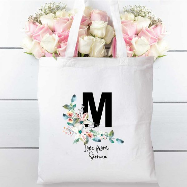Tote Bag Letter and Floral, Natural cotton
