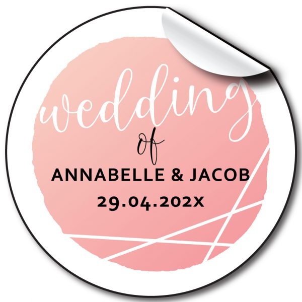 Script pink Wedding day personalised stickers, labels