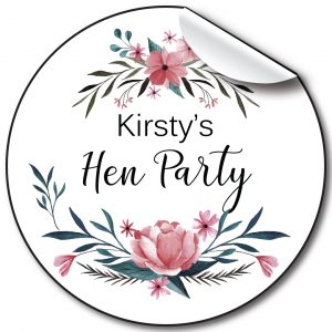 Floral blue HenParty personalised stickers