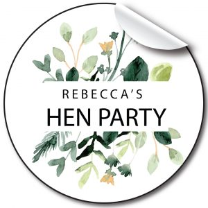 Green Floral Hen Party personalised stickers