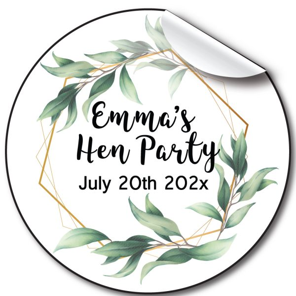 Floral green Hen Party personalised stickers